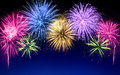 Colorful Fireworks Display On Blue Royalty Free Stock Images - 81904209