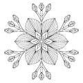 Vector Snow Flake In Zentangle Doodle Style, Black Mandala For A Royalty Free Stock Images - 81910499