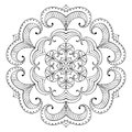 Vector Snow Flake In Zentangle Style, Paper Cutout Mandala For A Stock Photos - 81912213