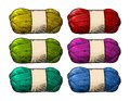 Det Color Roll Yarn With Woolen Thread Knitting. Vintage Engraving Stock Images - 81916374