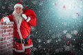 Composite Image Of Portrait Of Santa Claus Carrying Bag Full Of Gifts By Chimney Royalty Free Stock Images - 81918199