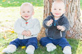 Twin Toddlers Sitting Near Tree Trunk Royalty Free Stock Photos - 81922298