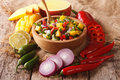 Mexican Food: Salsa With Mango, Cilantro, Onions And Peppers Clo Stock Photos - 81922303