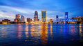 Jacksonville, Florida City Skyline At Night Logos Blurred Royalty Free Stock Photo - 81923055