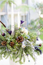 Bouquet Has Christmas Tree Branches And Artificial Flowers. Stock Images - 81945224