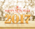 Red Color Happy New Year 2017 3d Rendering On Wood Table Top W Stock Images - 81950084