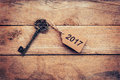 Business Concept - Old Key Vintage On Wood With Tag 2017 Royalty Free Stock Photography - 81951297