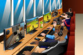 Young People Playing Games On An Internet Cafe Royalty Free Stock Images - 81956699