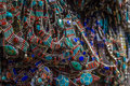 Many Necklaces With Coral And Turquoise On The Market Stall Royalty Free Stock Image - 81963906