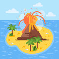 Vector Flat Style Illustration Of Volcano On Tropical Island. Royalty Free Stock Photos - 81968958