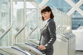 Professional Business Woman Walking Through Platform Barrier Royalty Free Stock Photography - 81976147