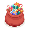 Isometric 3d San Gifts Bag New Year Christmas Flat Design Icon Template  Stock Photo - 81982990