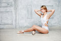 Young Beautiful Girl In White Dance Leotard And Pointe Shoes, Ballet Dancer. Stock Photos - 81983083