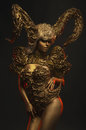 Beautiful Devil Women With Golden Ornamental Horns Royalty Free Stock Photos - 82004178