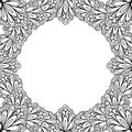 Ornamental Floral Frame With Space For Text, Greeting Card Template Or Coloring Book Page, Circle In Square. Stock Image - 82007691