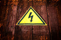 Yellow Triangle Electricity Warning Sign Stock Photo - 82013520