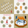Martial Arts People Isometric 2x2 Icons Set Stock Photo - 82037560