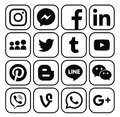 Collection Of Popular Black Social Media Icons Stock Image - 82066521