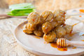 Grilled Thai Meat Ball With Spicy Sauce, Selective Focus Royalty Free Stock Image - 82082366