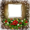 Christmas Greeting Background With Card, Pine Branches, Poinsettia, Berries Branches, Garland Lights On A Wooden Background Stock Photo - 82088100