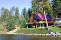 A House By The Lake At Lake Wenatchee National Park, Washington, US Stock Photos - 82094123