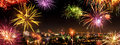 Whole City Celebrating The New Year With Fireworks Royalty Free Stock Images - 82095319
