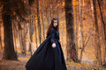 Young Beautiful And Mysterious Woman In Woods, In Black Cloak With Hood, Image Of Forest Elf Or Witch Royalty Free Stock Photos - 82108738