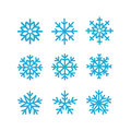 Different Vector Snowflakes Collection. Vector Ice Crystal Set Stock Photo - 82111100