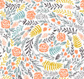 Vector Floral Seamless Pattern In Doodle Style With Flowers And Leaves. Stock Photography - 82111712