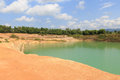 Orange Valley Hill And Green Water Pond Lake Royalty Free Stock Photography - 82125157