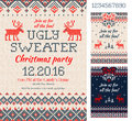 Ugly Sweater Christmas Party Cards. Knitted Pattern. Scandinavia Stock Images - 82131874