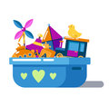 Children Toys In Box With Hearts Or Chest Royalty Free Stock Photography - 82134017
