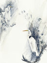Bird White Heron Egret Watercolor Painting Illustration Isolated On White Background Royalty Free Stock Photography - 82138737