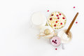 Dairy Produce. Milk In Bottle, Cottage Cheese In Bowl, Kefir In Jar, Cranberry Yogurt In Glass, Butter And Fresh Berries. Stock Photos - 82147253