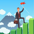 Business Man With A Winner Flag Royalty Free Stock Image - 82161876