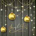 Golden Decorations And Christmas Balls On Black Wooden Backgroun Stock Image - 82163041