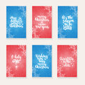 Set Of 6 Christmas And New Year Greeting Cards With Hand Drawn Brush Lettering And Doodles. Holiday Invitation. Royalty Free Stock Photo - 82163745