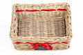 Woven Rectangle Box,basket With Red Satin Ribbon Tape And Small Blackboard. Stock Photos - 82166603