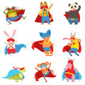 Animals Dressed As Superheroes With Capes And Masks Set Stock Photography - 82169412