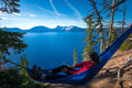 Women Relaxing In Hammock Crater Lake Oregon Stock Image - 82169531