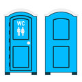 Mobile Toilet.  Blue Plastic Outside Water Closet With WC Sign Stock Photography - 82171172