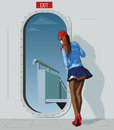 Stewardess At The Door Stock Photography - 82174422
