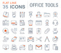 Set Vector Flat Line Icons Office Tools Royalty Free Stock Image - 82175136