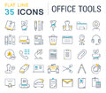 Set Vector Flat Line Icons Office Tools Royalty Free Stock Photos - 82176028