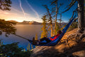 Women Relaxing In Hammock Crater Lake Oregon Royalty Free Stock Photography - 82176847