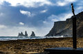 Landscape With Statue On The Black Sand Beach Of Vik, Iceland Stock Photo - 82181450