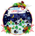 Winter Village Night Landscape And Holiday Text `Happy New Year!`. Royalty Free Stock Photo - 82183665