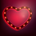 Neon Glowing Heart On Red Background. EPS 10 Royalty Free Stock Photo - 82200055
