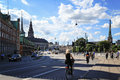 People Riding Bicycles On A Street In Slotsholmen, View On A Fam Stock Image - 82203721