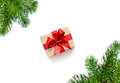 Christmas Gift And Fir Tree Branches. Top View Royalty Free Stock Photography - 82206217